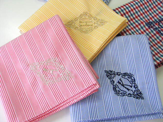 YLINUM stripe check handkerchief