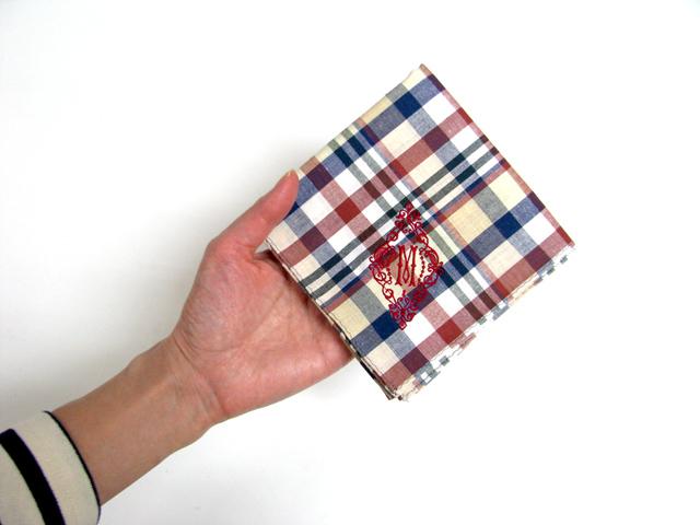 id - YLINUM check and stripe イニシャル刺繍ハンカチ