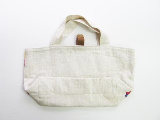 フランス製ヴィンテージ刺繍生地のトートバッグ PINK