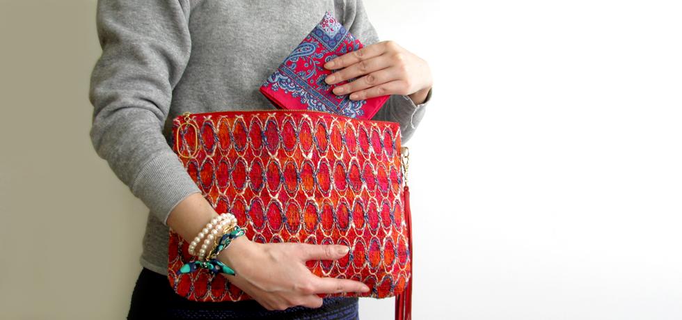 hankachi, vintage fabric clutch bag, silk chain bracelet